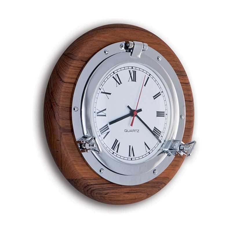 Orologio in ottone cromato su base in legno di teak da 270 for Arredo casa guardiagrele