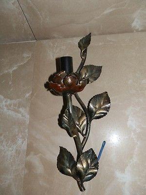 Applique 1 luce in ferro battuto fiori foglie rosa da interno classico colora...