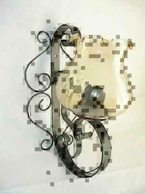 Applique da parete lampada in ferro battuto forgiato ebay - Applique da parete in ferro battuto ...