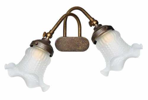 Lampada da parete a due luci intrecciate in ottone classicarte