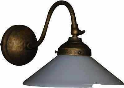 Applique lampada parete in ottone brunito con vetro opaline bianco
