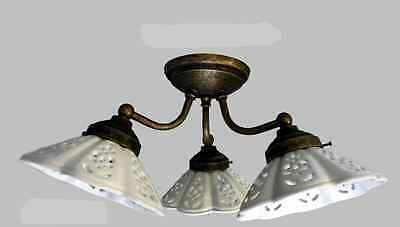 Plafoniere Con Lampade A Risparmio Energetico : Lampada a plafoniera in ottone brunito con ceramiche classicarte