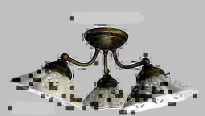 Plafoniera Ottone Esterno : Applique lampada plafoniera ottone casa arredo a 3 punti luce con