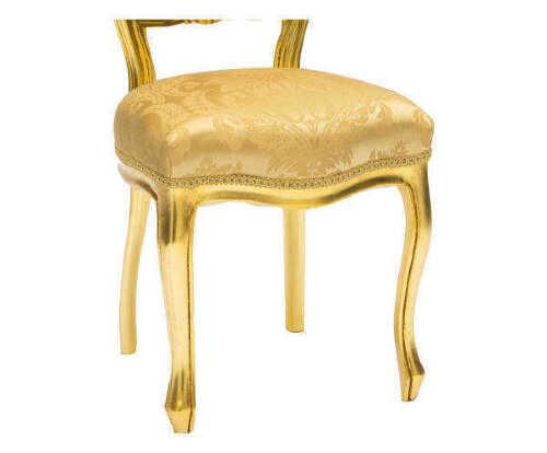Sedia sgabello con schienale basso stile barocco in oro