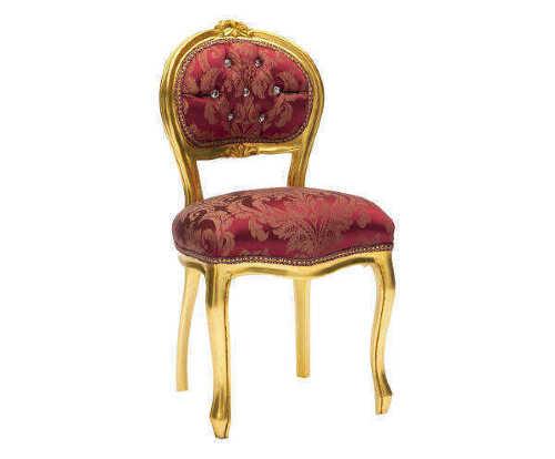Sedia sgabello in legno foglia oro con schienale basso classicarte