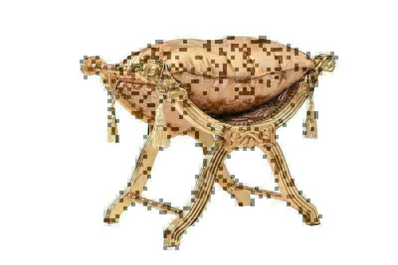 Savonarola legno sgabello foderato dorato foglia oro ebay - Savonarola sedia ...