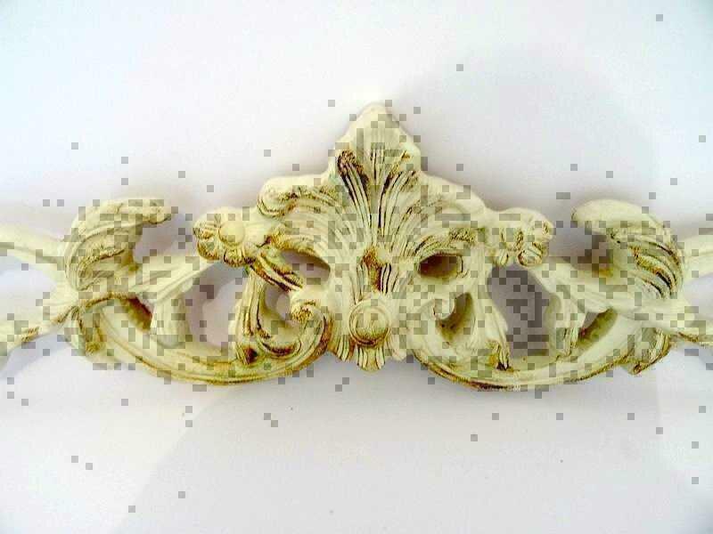 Fregio frontino sovraporta in legno barocco bianco 105 cm