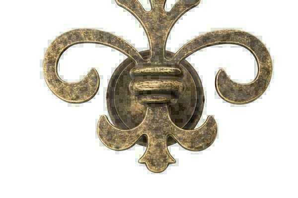 Applique lampada da parete con giglio fiorentino in ottone brunito