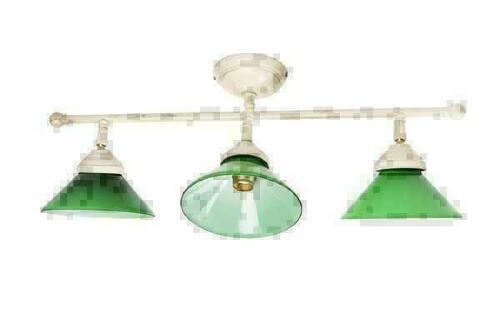 Plafoniera Ottone Vetro : Plafoniera a luci in ottone avorio antico con vetri verdi
