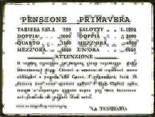 Targa tabella insegna in metallo riproduzione TARIFFARIO BORDELLO ANNI /'20