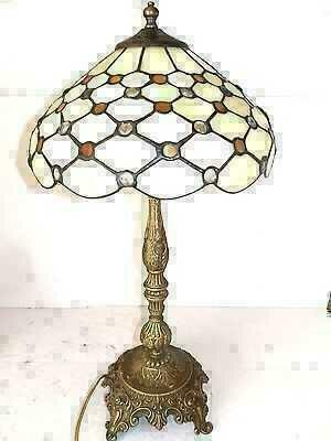 Lampada Da Tavolo In Ottone Stile Barocco Con Vetro Tiffany Bianco