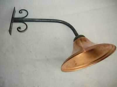 Lampada da parete applique ferro battuto campana rame ebay