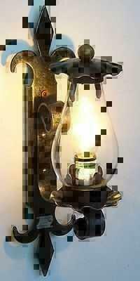 Lampada da parete applique in ferro battuto con vetro trento piccola 1 luce ebay - Applique da parete in ferro battuto ...