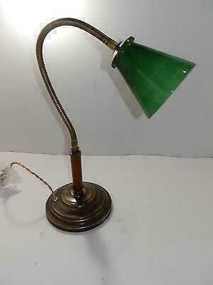 Details about Lampada da tavolo per studio o ufficio in ottone e legno ...