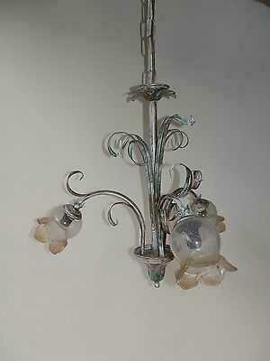 lampadario-in-ferro-battuto-verde-acquamarina-a-3-luci-con-vetri ...
