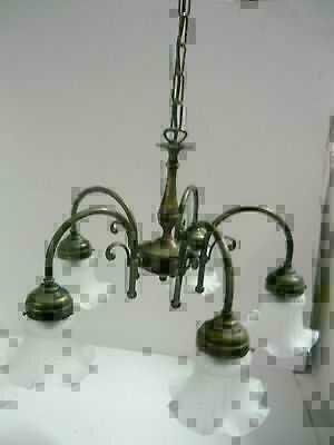 Lampadario in ottone stile liberty a 5 luci | Classicarte.it ...