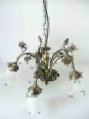 Lampadario stile liberty in ottone brunito 5 luci con vetri ...