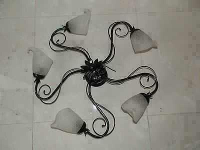 Sostituire Plafoniera Con Lampadario : Lampadario plafoniera in ferro a luci con vetri nero argento