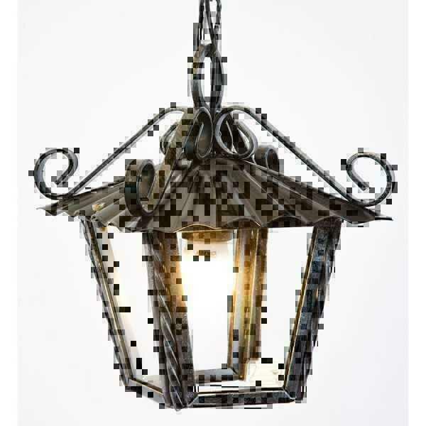 Lanterna lampada lampadario da esterno interno in ferro battuto e catena 21 x 21 ebay - Lanterne da esterno in ferro battuto ...