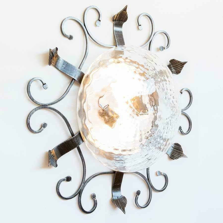 Plafoniera in ferro battuto con vetro trasparente da 58 cm for Complementi d arredo ferro battuto