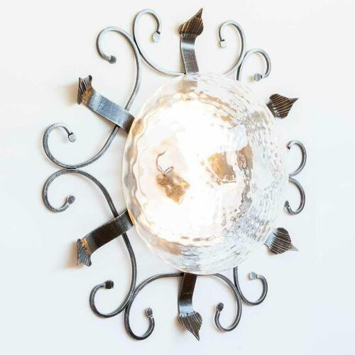 Plafoniera in ferro battuto con vetro trasparente da 58 cm for Arredo casa guardiagrele