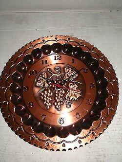 Orologio da parete in rame lucido decorato 4 stagioni movimento al quarzo