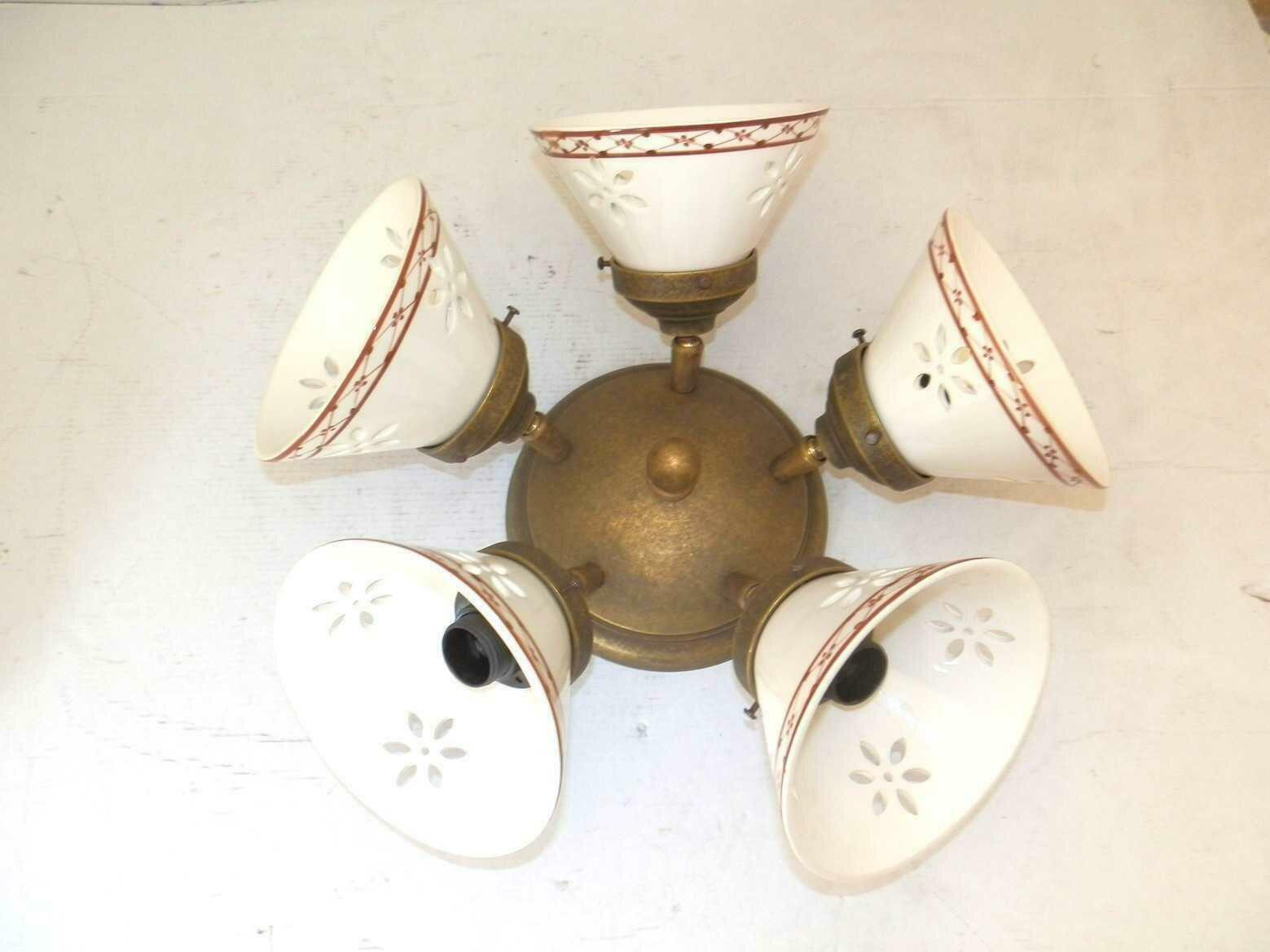 Plafoniere Per Taverna : Applique lampada plafoniera ottone casa arredo 5 luci con ceramica