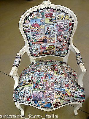 Poltrona sedia personaggi disney in legno laccato bianco for Arredo casa guardiagrele