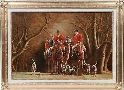 Dipinto olio su tela cornice foglia oro caccia alla volpe inglese ...