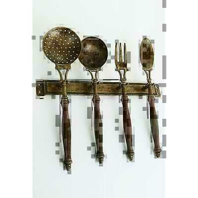 set 4 mestoli attrezzi da cucina in ottone brunito e legno con supporto