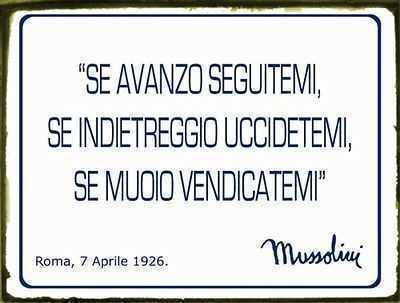 Targa In Metallo Con Frase Famosa Di Benito Mussolini