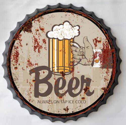 Targa in metallo tabella con scritta beer vintage for Arredo casa guardiagrele