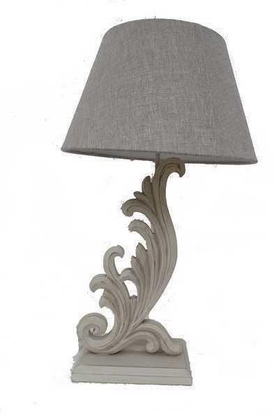 Lampada Da Tavolo In Legno Stile Shabby Con Paralume Bianco
