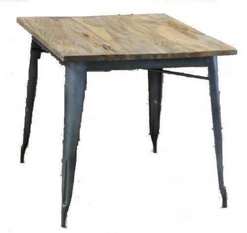 Tavolo Quadrato In Legno Con Gambe E Struttura In Metallo Stile Industrial